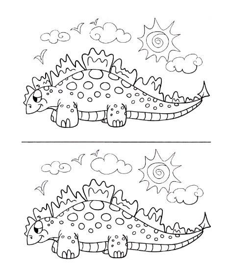 Найди семь отличий динозаврика.